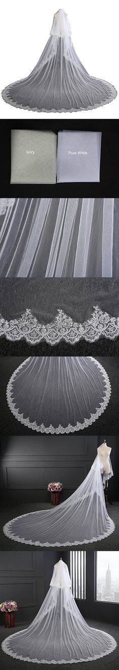 EllieHouse Women's 2 Tier Cathedral Lace Ivory Wedding Bridal Veil With Comb L01IV-HL08IV