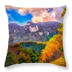 Autumn Throw Pillow featuring the photograph Autumn Peaks by Scott Hervieux