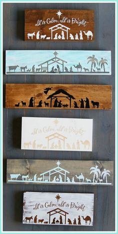 DIY Nativity Board Craft - a how-to tutorial - - sugar bee crafts (Diy Cutting Board Vinyl) Diy Nativity, Christmas Nativity, Noel Christmas, Christmas Signs, All Things Christmas, Christmas Vinyl, Nativity Scenes, Easy Christmas Crafts, Simple Christmas