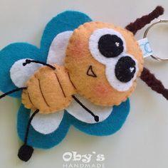 Felt butterfly - Handmade - dim. 5x5cm