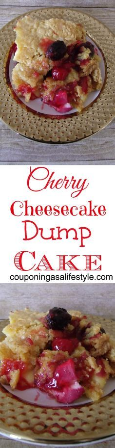 Cherry Cheesecake Dump Cake.  Cherry pie has nothing on this dump cake.  Pin for later!