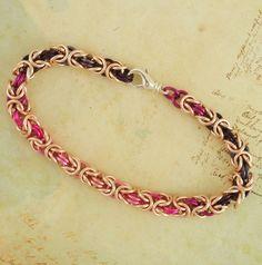Dusty Rose Byzantine Bracelet Kit - Custom Chainmaille. $30.00, via Etsy.