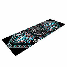 "Pom Graphic Design ""Geo Glass"" Teal Black Yoga Mat"