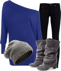 grey, blue, black. Subtract the hat, add gray accessories/jewelry