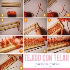 Cómo tejer con telar: http://www.craftingeek.me/2011/03/mi-primera-bufanda-empezando-tejer-con.html