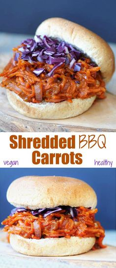 Pulled BBQ-Carrots with Homemade BBQ Sauce! Yes! This recipe is made with carrots and red onion. It's so meaty, chewy, healthy, and delicious. Perfect for the Super Bowl game. My non-vegan husband loved it! www.veganosity.com