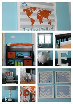 Newborn Nursery - Blue, Gray & Orange. This nursery is simple and uses many different patterns.