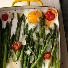Roasted Asparagus with Egg and Tomato | MyRecipes.com #myplate #vegetarian #protein