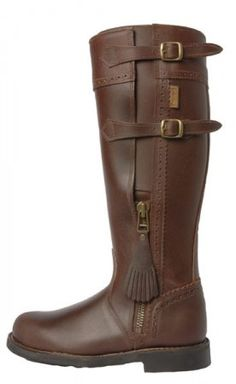Spanish Leather Riding Boots Buckle & Zip