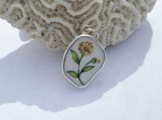 Sterling Silver Broken China Pendant Yellow by MaroonedJewelry, $35.00