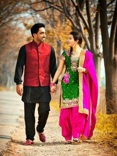 Punjabi suit pinksuit punjabisuit pink and green punjabi patiala