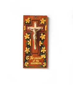 Vintage Crucifix Plaque  Wood Wall Hanging  by MomsantiquesNthings, $12.00