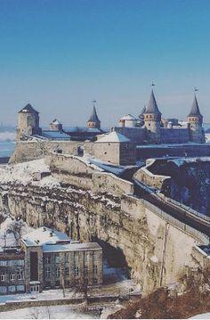 Kamianets-Podilskyi Castle in winter - Ukraine