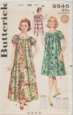 Butterick 9946   Vintage 60s Sewing Pattern   Gown Nightgown Dress Lingerie  Loungewar   Size 14 Bust 34 dd9ca6f9cd21