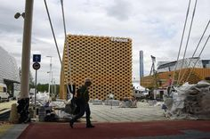 Workers prepare the Poland Pavillion for the Expo 2015 which will run from May 1 - October 31 and will focus on food security, sustainable agricultural pract...