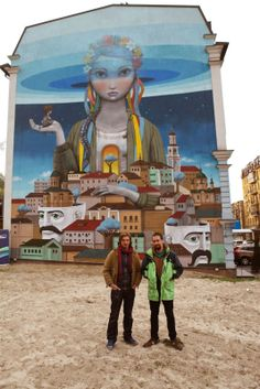 Seth is now back in Europe where he reached Ukraine to work on this new collaboration with Kislow. Painting on the streets of Kiev, the French-Ukrainian street art duo worked their magic on this massive piece which is featuring each artist's distinctive style and imagery.