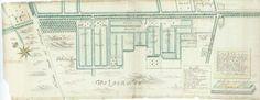 Kaart met blekerijen in de heerlijkheid Bennebroek ten zuidwesten van de Bennebroekerlaan, in 1686 vervaardigd door Jan van Leeuwen (Historische atlas van Kennemerland. door Ben Speet, 2015)