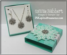 InkspiredTreasures.com, Stampin' Up, snowflakes, jewelry, earrings, necklace, diy jewelry, slider box, Connie Babbert, Festive Flurry, Frosted Finishes