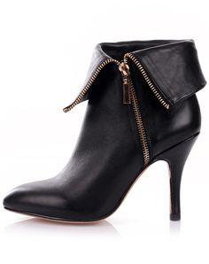 Black Zipper Point Toe High Heel Shoes 41.10