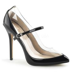 "Pleaser Amuse 21 5"" Stiletto Heel Black Patent Mary-Janes with Clear Surround. (shoes)"