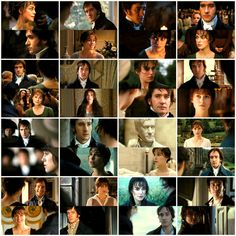 Pride and Prejudice... Mr. Darcy's and Elizabeth's encounters with each other and their facial expressions! I love how they gradually soften as the movie progresses!