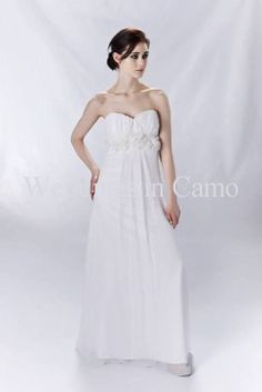 Strapless SILK CHIFFON Empire bodice simple Rustic or Country Wedding Dress