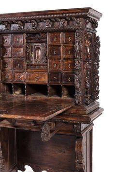 * An Italian Walnut Bambocci Cabinet Height 63 x width 41 3/4 x depth 17 1/