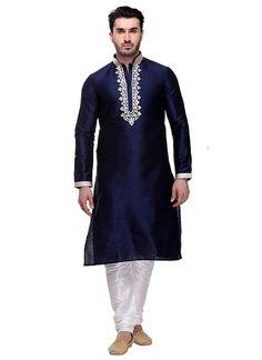 Blue Art Dupion Silk Kurta Pyjama with Thread Work