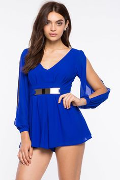Slit Sleeve Plated Romper