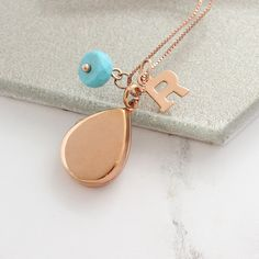 Beautiful polished sterling silver, rose gold or gold teardrop locket necklace personalised with letter charm and birthstone, add a secret message or image to create sentimental gift for a loved one Birthstone Charms, Birthstone Necklace, Locket Necklace, Turquoise Jewellery, December Birthday, Letter Charms, Pearl Stud Earrings, Gemstone Bracelets, Sentimental Gifts