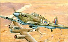 Hawker Hurricane Mk.IIc Trop. (AK-G/BP592) del Escuadrón 213 derriba un Ju-88. El Alamein 01 de septiembre de 1942. Zdenek Machacek. Varios escuadrones de la RAF en el norte de África experimentaron con un camuflaje moteado parcial como el usado por las Fuerzas del Eje. El moteado se restringia generalmente a la nariz y los bordes de ataque de las alas. Más en WWW.elgrancapitan.org/foro/