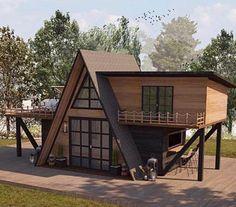 Tiny House Cabin, Tiny House Living, Cabin Homes, Hut House, Cabin House Plans, A Frame House Plans, A Frame Cabin, Small House Design, Little Houses