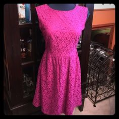 Hot pink lace fit and flare dress Stunning back with keyhole style look. Very sweet and sexy!💖New without tags. Never worn. ENFOCUS Studio Dresses