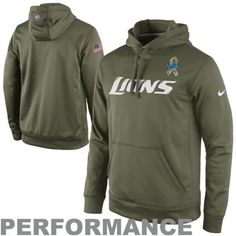Nike Detroit Lions Salute to Service KO Pullover Performance Hoodie - Olive