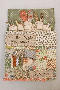 """Rabbit Family Art Print Wall Decor """"And The Little One Said... Roll Over...'"""