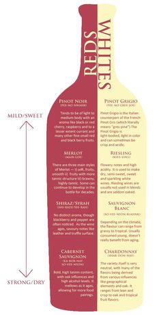 Entertaining red white wines description mild/sweet strong/dry for dinner birthday party