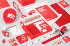 An identity by Snask. In Sweden's social democratic youth league realised that they lacked a unified brand identity. SSU had not overlooked its graphic identity in ten years time and with the… Collateral Design, Brand Identity Design, Graphic Design Branding, Stationery Design, Logo Design, Red Design, Brochure Design, Corporate Design, Brand Packaging