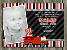 Printable Fire Truck Birthday Invitation | Fire Engine | Photo Card | Boys Birthday Party Idea | Matching Party Package Available! Banner | Cupcake Toppers | Favor Tag | Food and Drink Labels | Signs | Candy Bar Wrapper | www.dazzleexpressions.com