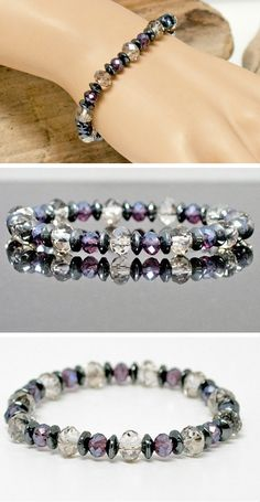 BARGAIN! Hematite Lavender and Gray Stretch Bracelet featuring Natural Stone and Faceted Czech Crystals. Simply Brilliant Bling! by Lindy Lee Treasures