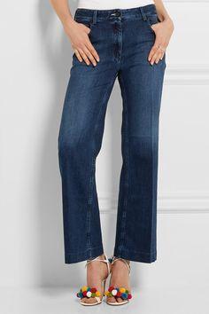 Dark-blue stretch-denim Button and concealed zip fastening at front 95% cotton, 5% spandex  Machine wash Designer wash: Indigo  Made in Italy