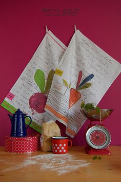 Vegetable Tea Towel set by HelenHallows on Etsy, £24.00 www.helenhallows.com art/ceramics/contemporary limited edition prints