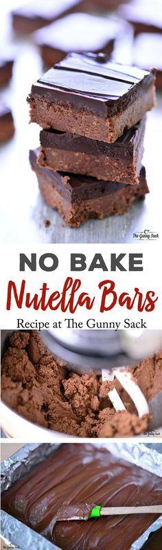 This No Bake Nutella Bars recipe is so easy to make. The texture of these bars is similar to peanut butter cups and everyone loved them!(Nutella No Baking Cookies) Nutella Bar, Nutella Snacks, Nutella Peanut Butter, Nutella Slice, Nutella Drink, Nutella Brownies, Nutella Cookies, No Bake Treats, Yummy Treats