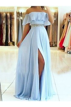 A-Line/Princess Sleeveless Off-The-Shoulder Floor-Length Beading Chiffon Dresses, This dress could be custom made, there are no extra cost to do custom size and color Split Prom Dresses, Prom Dresses For Teens, Cute Prom Dresses, Elegant Dresses, Pretty Dresses, Homecoming Dresses, Sexy Dresses, Blue Dresses, Beautiful Dresses