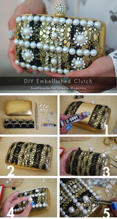 DIY Embellished Clutch-Turn a Thrift Store find into something amazing! Supplies available at any craft store. #DIY#EmbellishedClutch#ClutchPurse#Clutch#Purse#Handbag#Accessories#