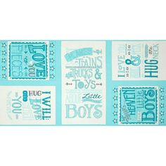 """Moda+Hugaboo+Boy+Panel+Airplane+Aqua from @fabricdotcom  Designed+by+Deb+Strain+for+Moda,+this+cotton+print+is+perfect+for+quilting,+apparel,+and+home+decor+accents.+Colors+include+shades+of+blue,+white+and+grey.+This+panel+measures+44""""+x+23"""".+"""