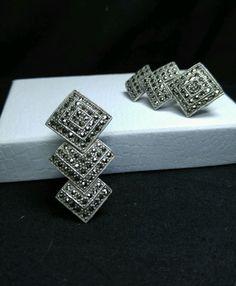Vintage Sterling Silver JUDITH JACK Art Deco Marcasite- French Clip Earrings #JudithJack #ArtDeco
