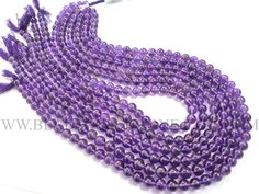Amethyst (African) Smooth Round (Quality AA) / 6.00 to 6.50 mm / 36 cm / AMET-040 by beadsogemstone on Etsy