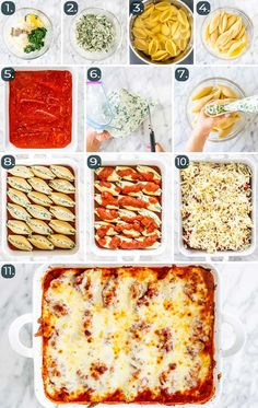 These easy Stuffed Shells are perfect to throw together on a weeknight and impressive enough to serve guests. They& saucy, oh-so-cheesy, and loaded with a ricotta, spinach, and parmesan filling. Easy Stuffed Shells, Stuffed Shells Recipe, Stuffed Pasta Recipes, Ricotta Stuffed Shells, Lasagna Recipes, Pasta Facil, Vegetarian Recipes, Cooking Recipes, Parmesan