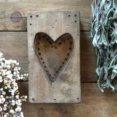 Wooden Heart Mold - Single Heart - Folk Art - Maple Sugar Mold   This listing is for the single heart mold pictured. It has a greige washed chalky finish  9 x 5 1/4 x 1 1/2 $30.00