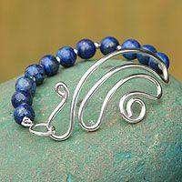Lapis lazuli beaded bracelet, 'In Visions' by NOVICA